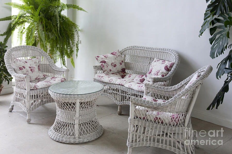 Statuesque White Wicker Furniture